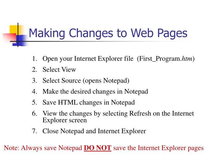 Making Changes to Web Pages