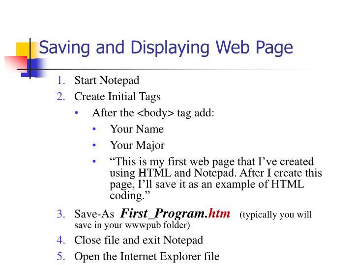 Saving and Displaying Web Page