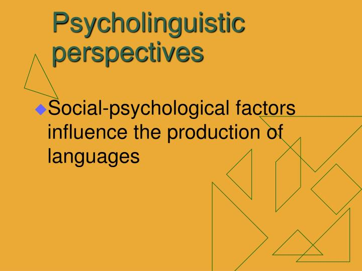 Psycholinguistic perspectives