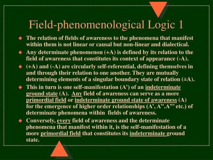 Field-phenomenological Logic 1