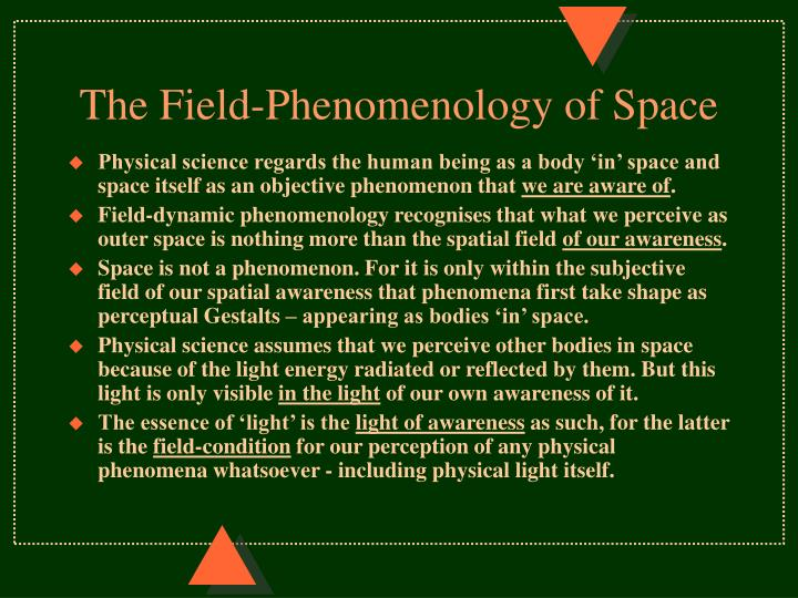 The Field-Phenomenology of Space
