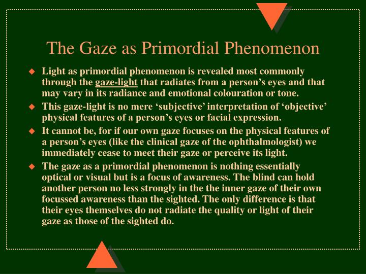 The Gaze as Primordial Phenomenon