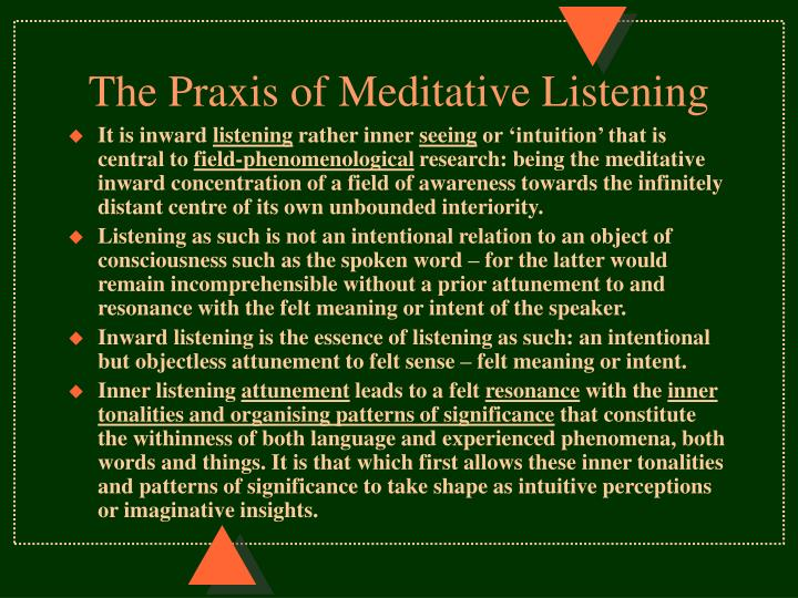 The Praxis of Meditative Listening