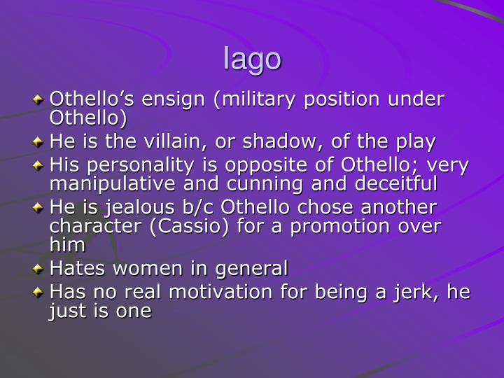 presentation of iago in othello A unit of work on 'othello' for a level lit designed for the old aqa a spec (last exams 2016) in which students write a 3 way comparative essay on.