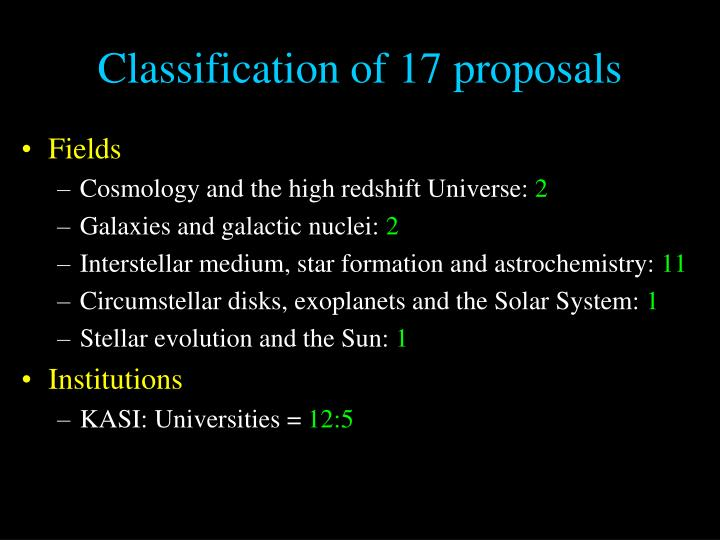 Classification of 17 proposals