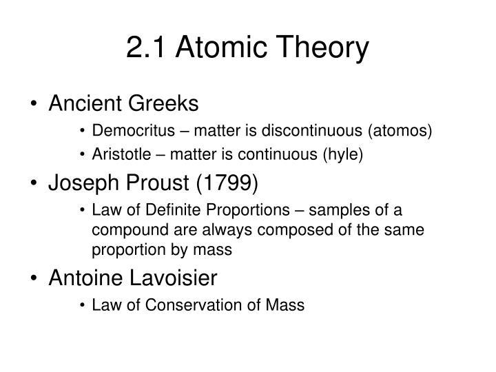 2.1 Atomic Theory
