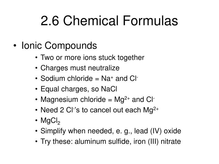 2.6 Chemical Formulas