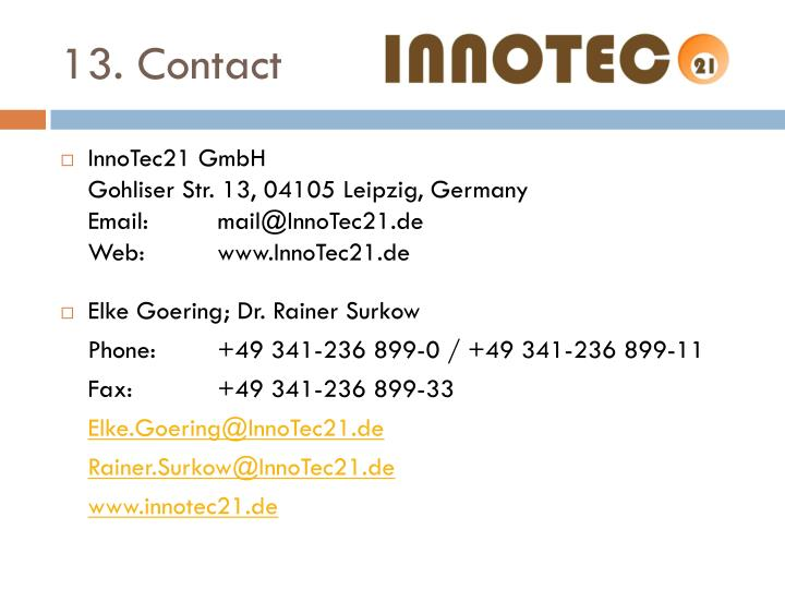13. Contact