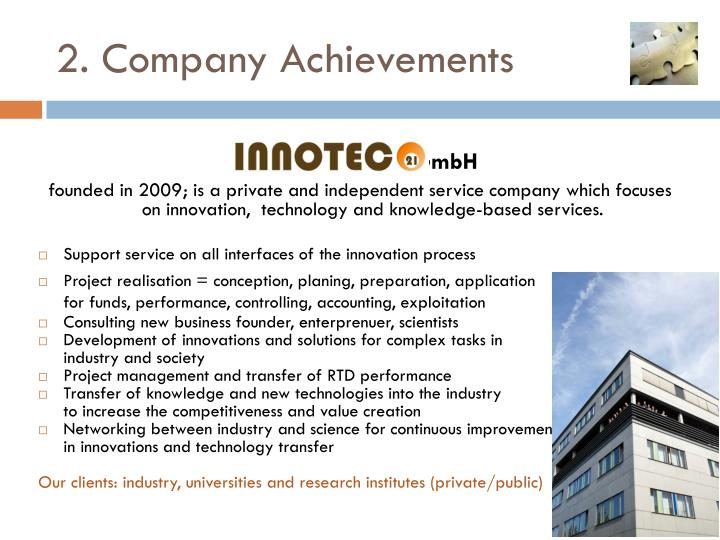 2. Company Achievements