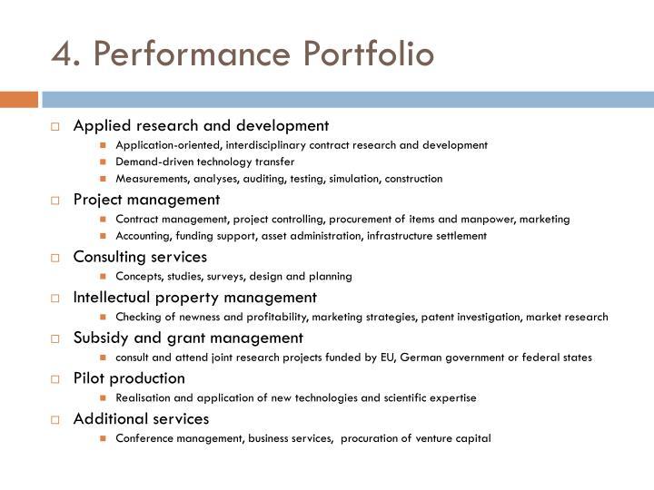 4. Performance Portfolio