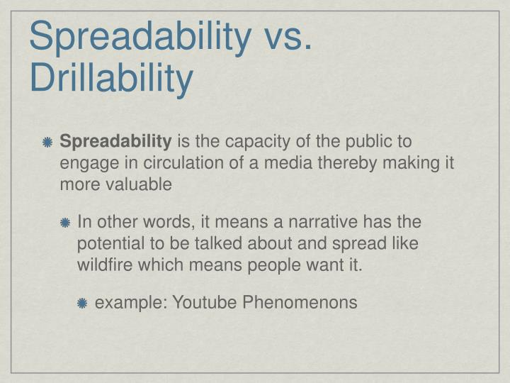 Spreadability vs. Drillability