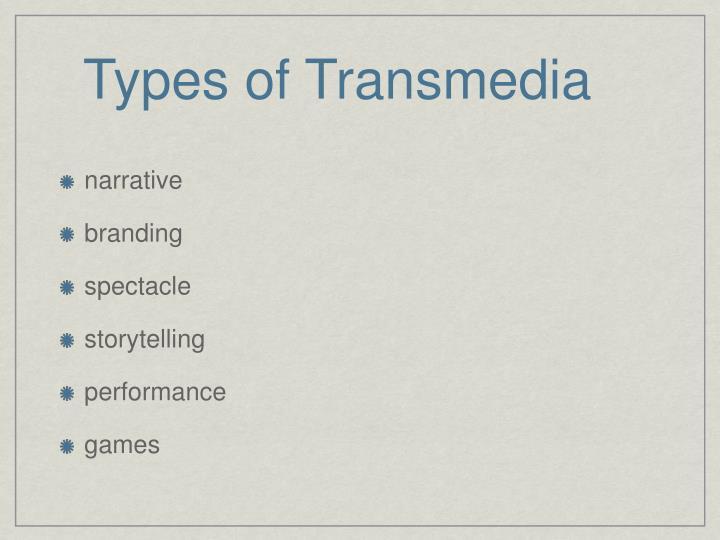 Types of Transmedia