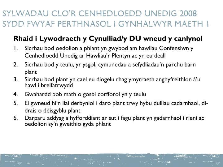 SYLWADAU CLO'R CENHEDLOEDD UNEDIG 2008  SYDD FWYAF PERTHNASOL I GYNHALWYR maeth 1
