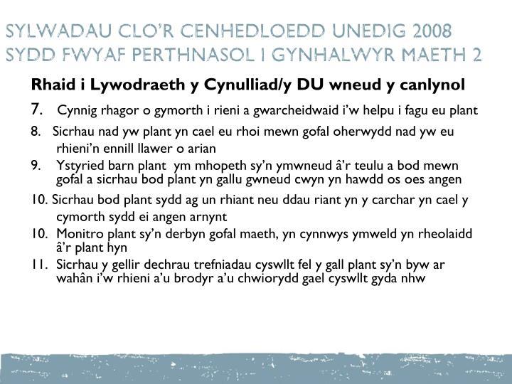 SYLWADAU CLO'R CENHEDLOEDD UNEDIG 2008  SYDD FWYAF PERTHNASOL I GYNHALWYR maeth 2