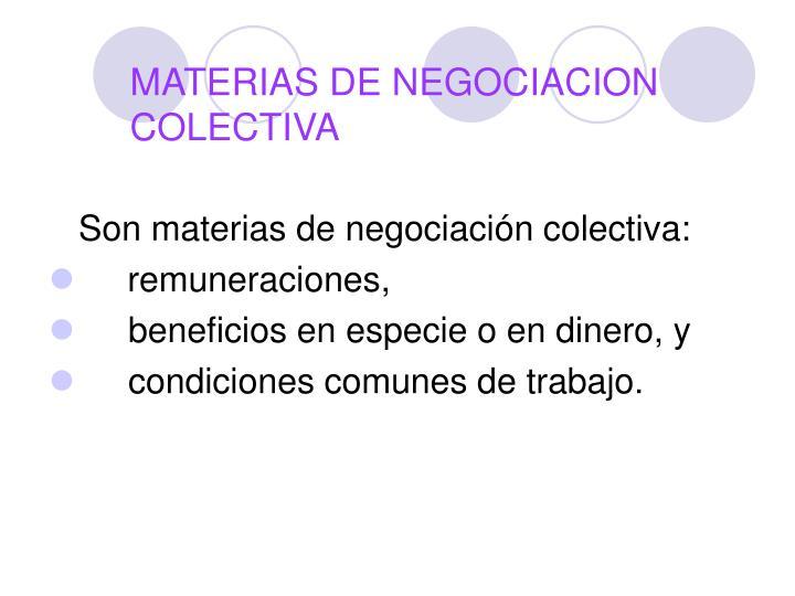 MATERIAS DE NEGOCIACION COLECTIVA