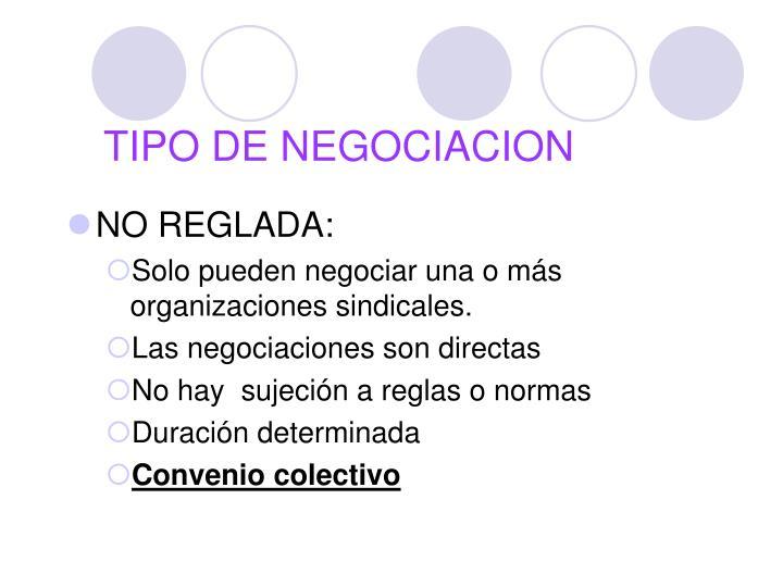 TIPO DE NEGOCIACION