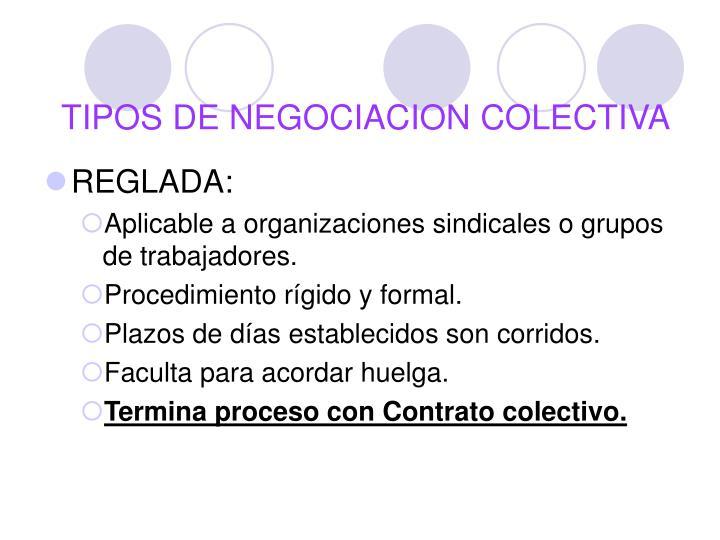 TIPOS DE NEGOCIACION COLECTIVA