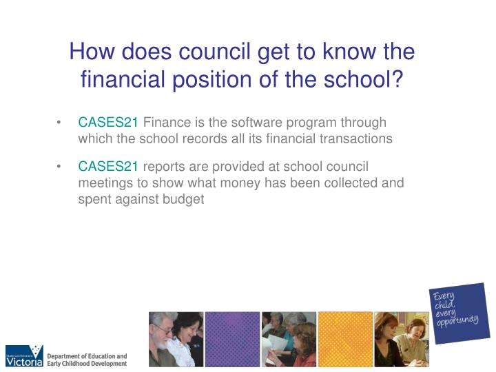How does council get to know the financial position of the school?