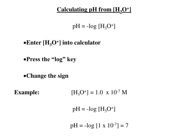 Calculating pH from [H