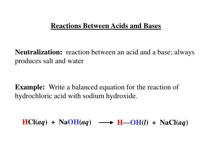 Reactions Between Acids and Bases