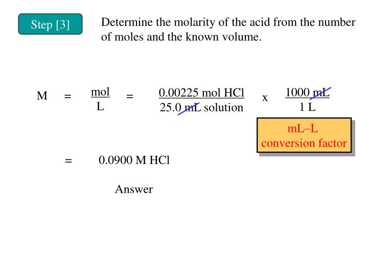 Determine the molarity of the acid from the number of moles and the known volume.