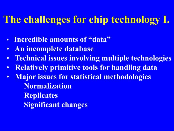 The challenges for chip technology I.