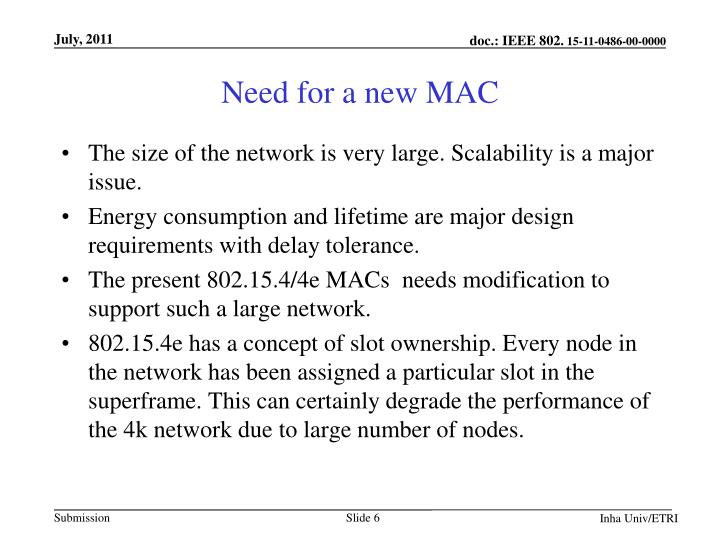 Need for a new MAC