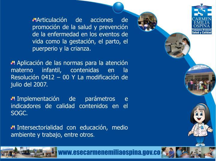 Articulación de acciones de promoción de la salud y prevención de la enfermedad en los eventos de vida como la gestación, el parto, el puerperio y la crianza.