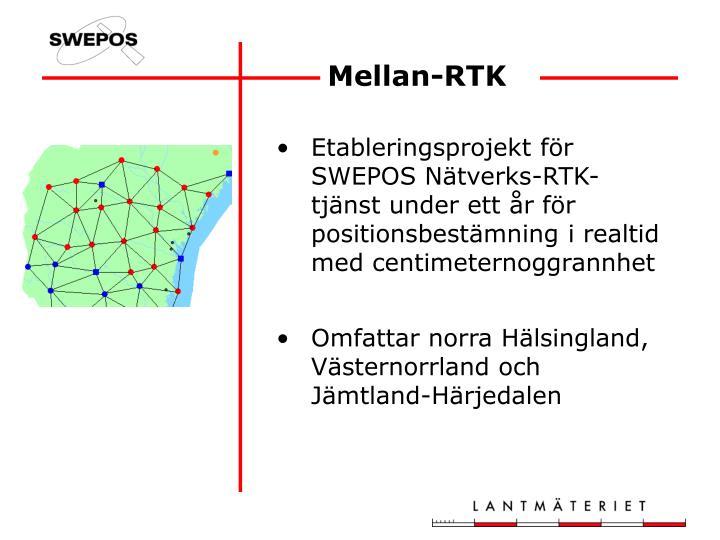 Etableringsprojekt för SWEPOS Nätverks-RTK-tjänst under ett år för positionsbestämning i realtid med centimeternoggrannhet