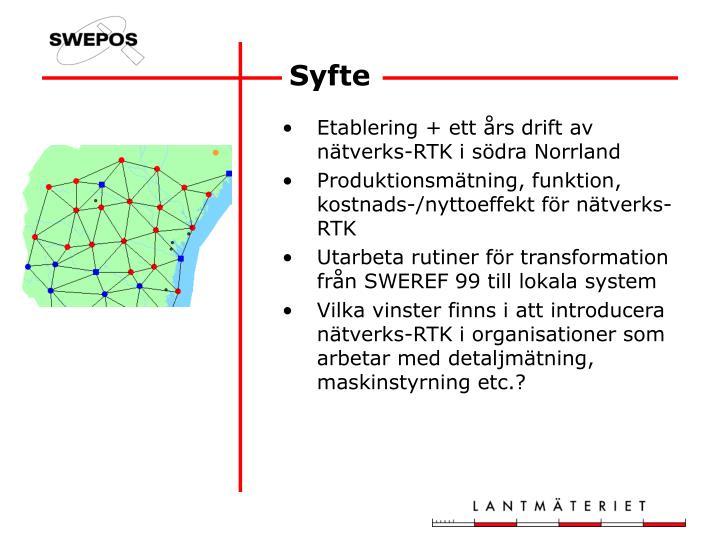 Etablering + ett års drift av nätverks-RTK i södra Norrland