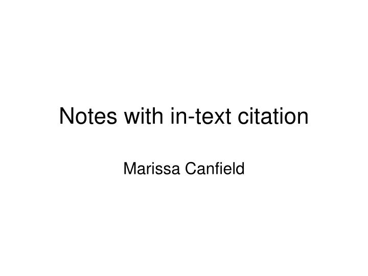 Notes with in text citation