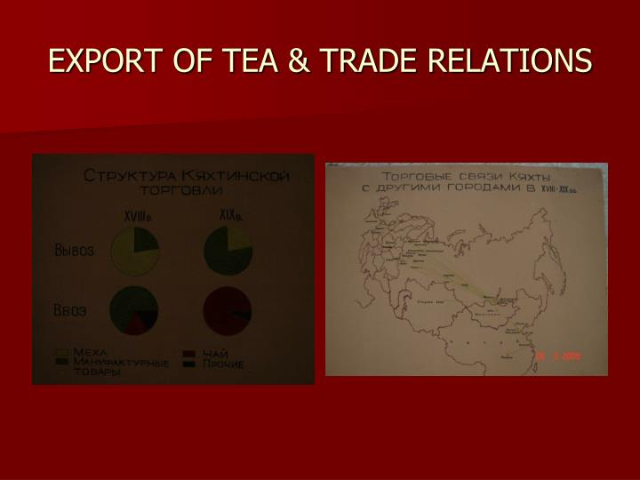 EXPORT OF TEA & TRADE RELATIONS
