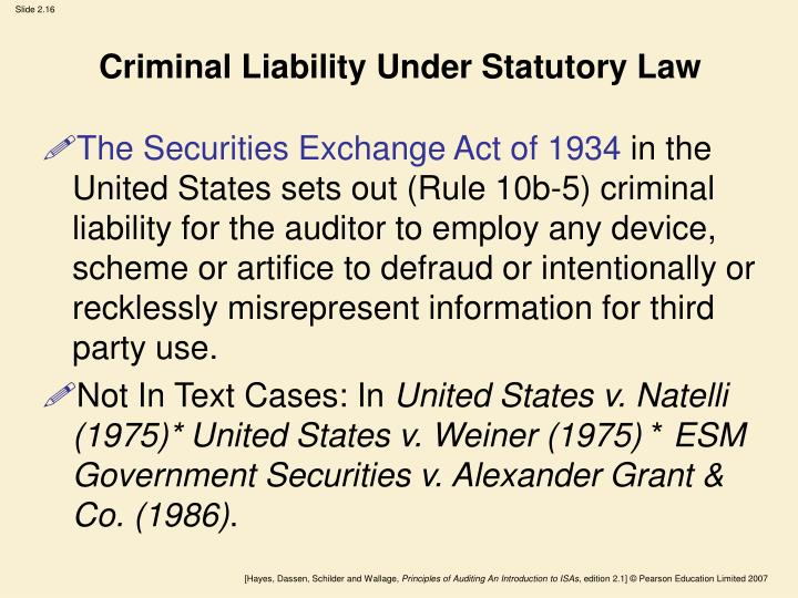 Criminal Liability Under Statutory Law