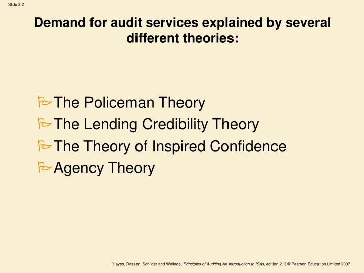 Demand for audit services explained by several different theories: