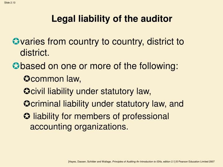 Legal liability of the auditor