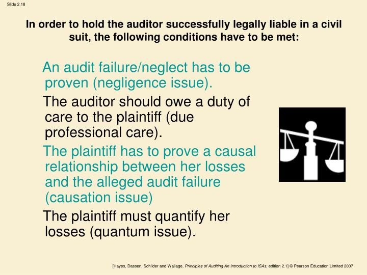 In order to hold the auditor successfully legally liable in a civil suit, the following conditions have to be met: