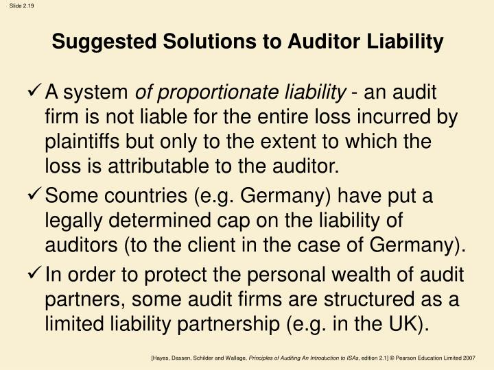 Suggested Solutions to Auditor Liability