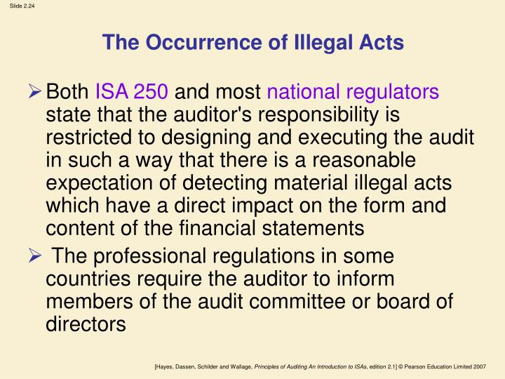 The Occurrence of Illegal Acts