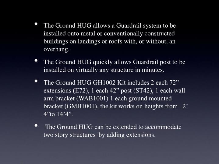 The Ground HUG allows a Guardrail system to be installed onto metal or conventionally constructed buildings on landings or roofs with, or without, an overhang.