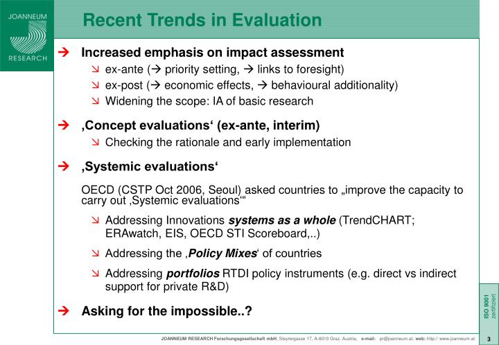 Recent trends in evaluation
