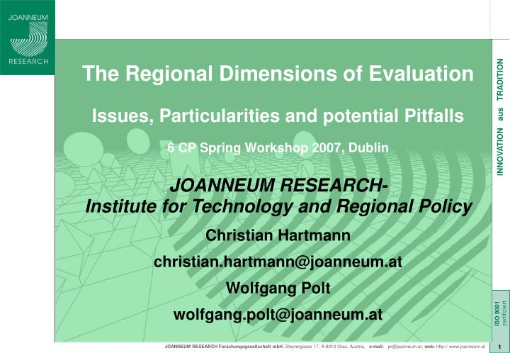 The Regional Dimensions of Evaluation