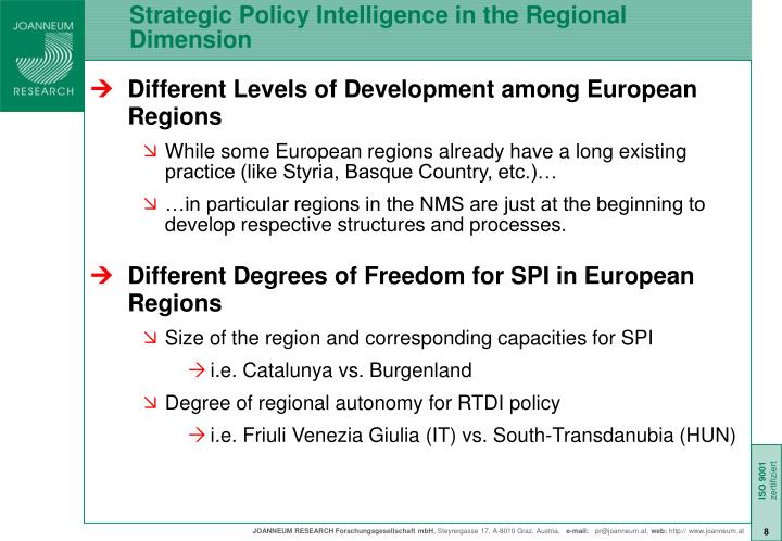 Strategic Policy Intelligence in the Regional Dimension