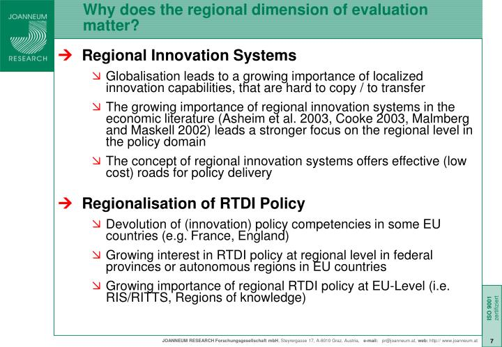 Why does the regional dimension of evaluation matter?
