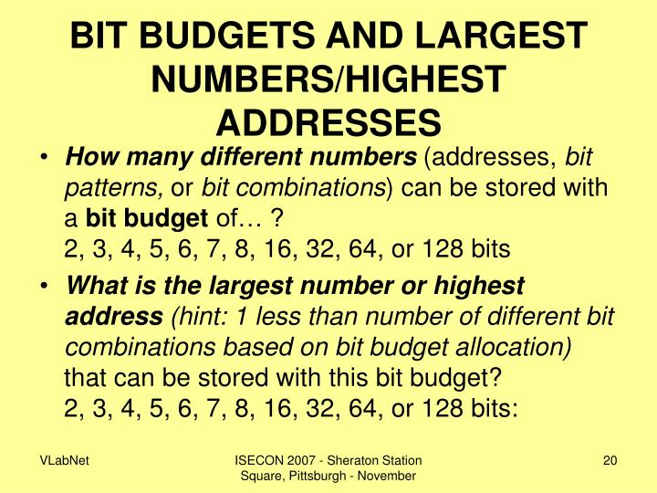 BIT BUDGETS AND LARGEST NUMBERS/HIGHEST ADDRESSES