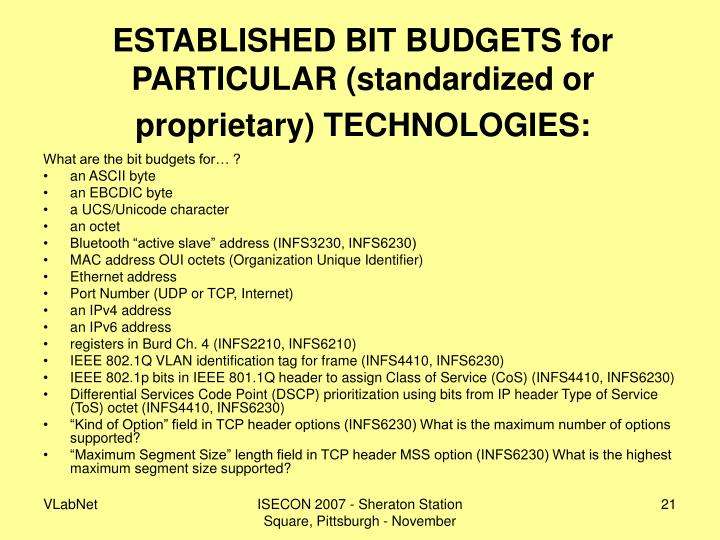 ESTABLISHED BIT BUDGETS for PARTICULAR (standardized or proprietary) TECHNOLOGIES: