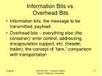 information bits vs overhead bits
