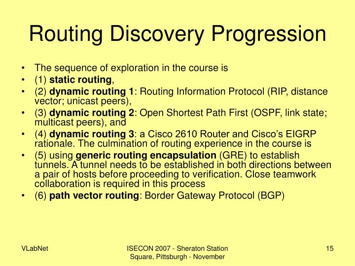 Routing Discovery Progression