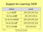 support for learning cidr
