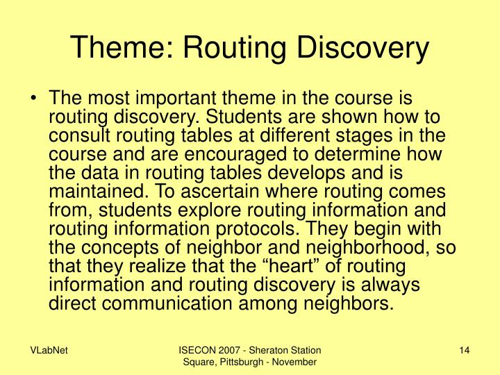 Theme: Routing Discovery