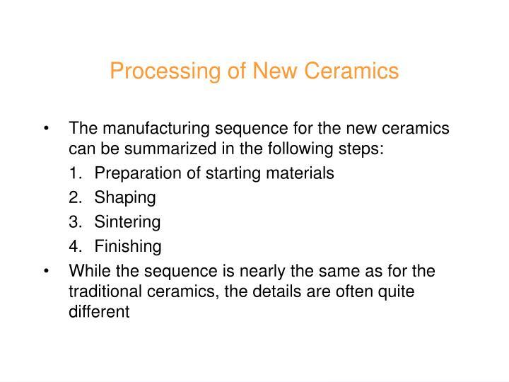 Processing of New Ceramics